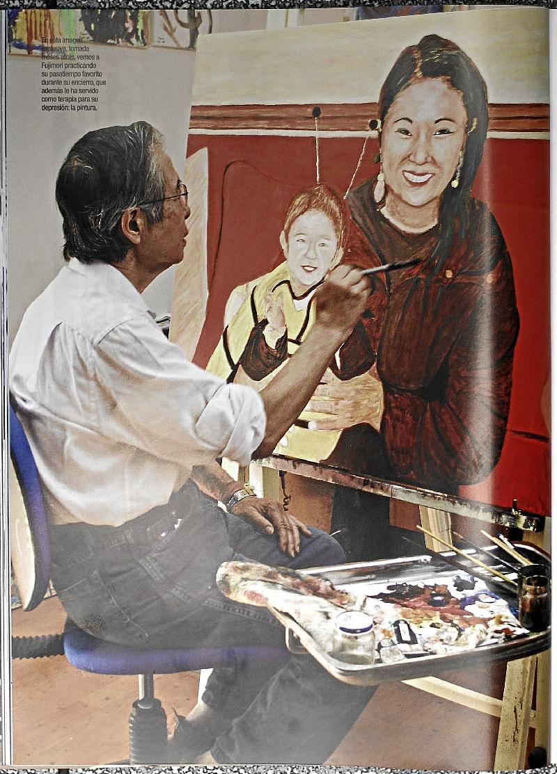Reproduccion de Fujimori pintando en su celda publicado en la Revista COSAS.