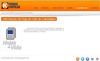 Pese a tener un enlace, Fuerza Popular no publica las hojas de vida de sus candidatos. Fuente: www.fuerzapopular.pe