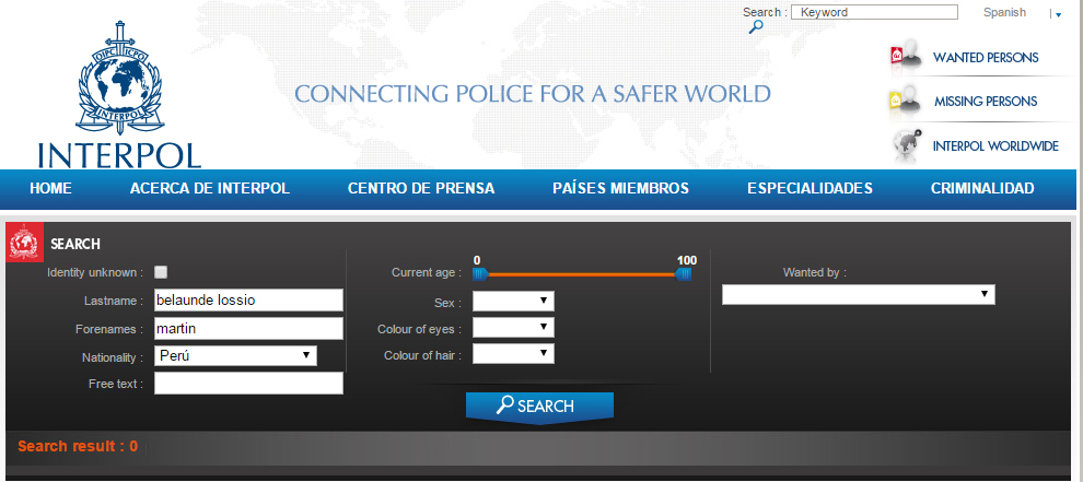 ¿Dónde está Belaúnde Lossio? ¡Aquí no ta! Captura web Interpol