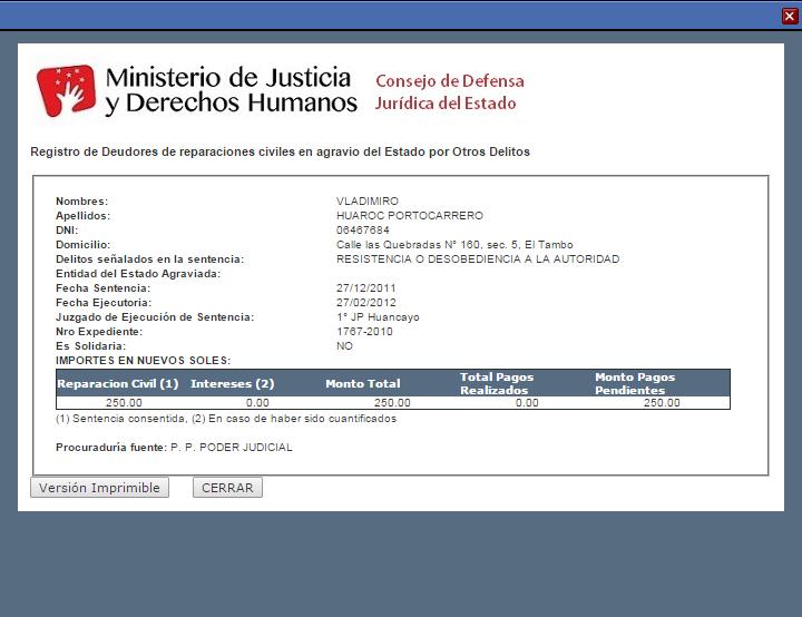 Paga pe' Fuente: Ministerio de Justicia