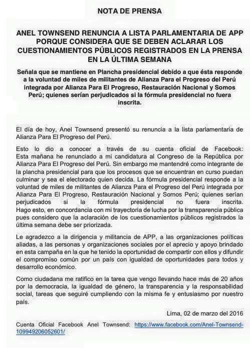 Comunicado de Anel Fuente: Facebook de la candidata a la vicepresidencia por APP