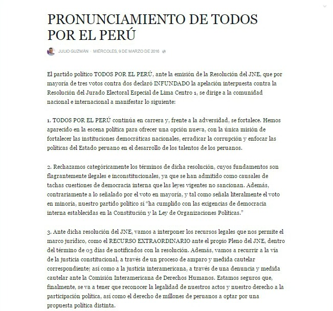 Siempre tan necio Fuente: Facebook Todos por el Perú