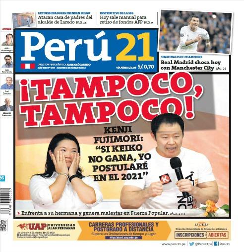 Tampoco tampoco, hermanita. Fuente: Portada del diario Perú21